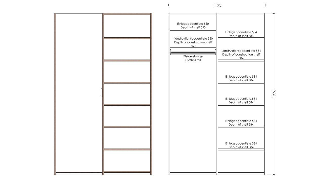 Modular Anbaubar Kleiderschrank Version 11 Ausführung 1