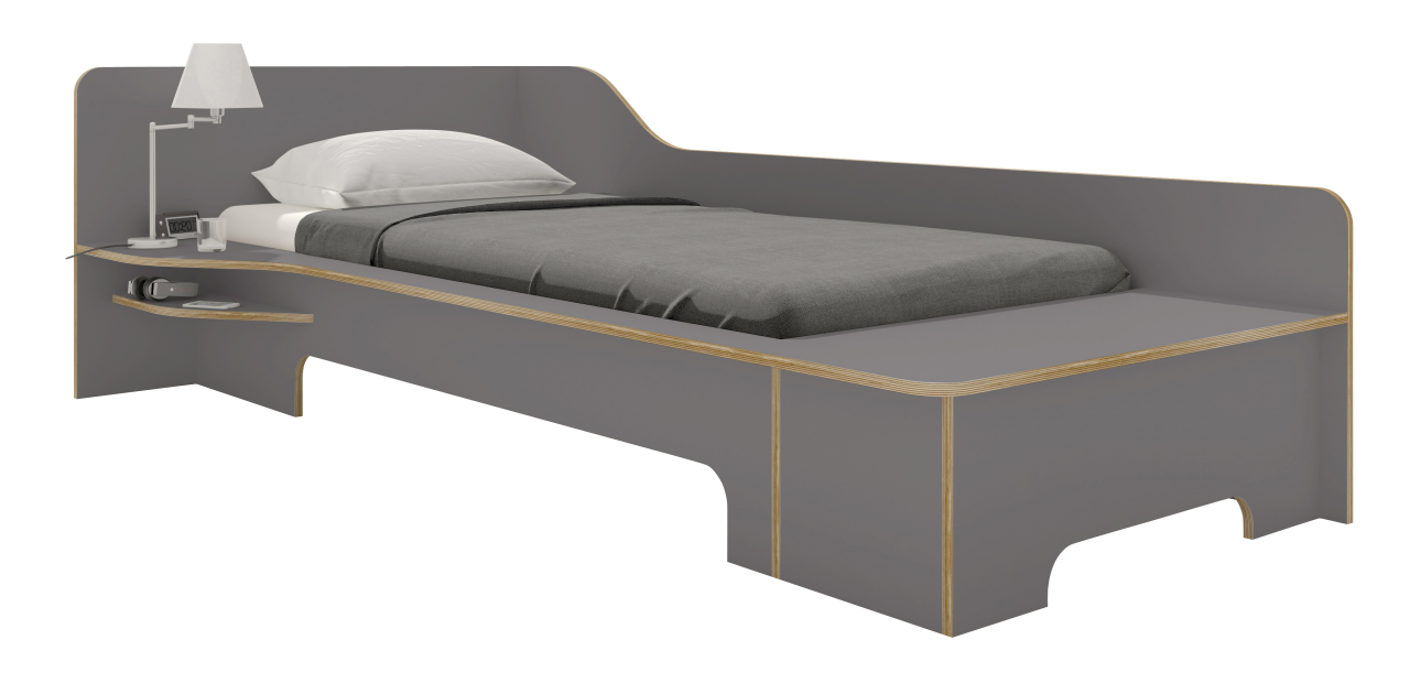 PLANE single bed anthracite with bedbox