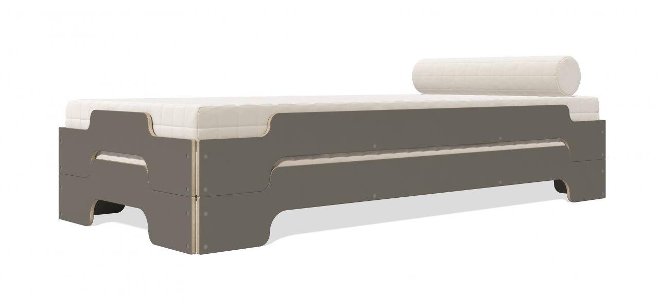 Stapelliege Komfort Anthrazit Birke mit Matratze und Nackenrolle gestapelt