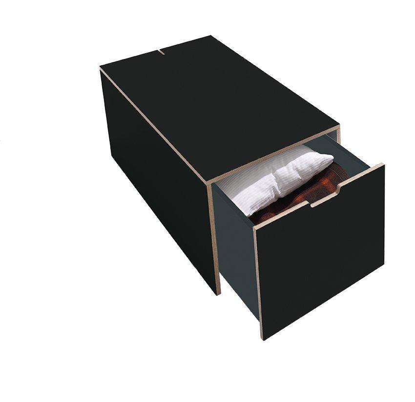 Schubkasten für Stapelliege in Schwarz Matt