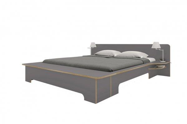 Plane Doppelbett, Anthrazit mit Bettkasten