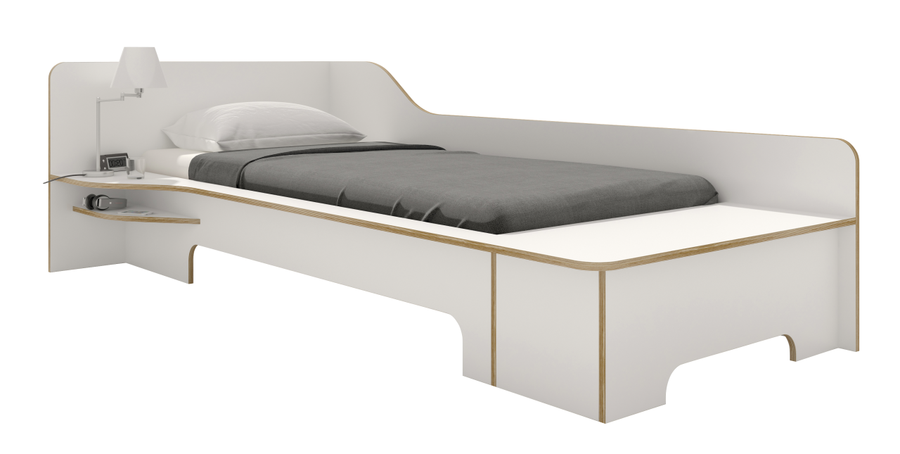 PLANE single bed white with bedbox