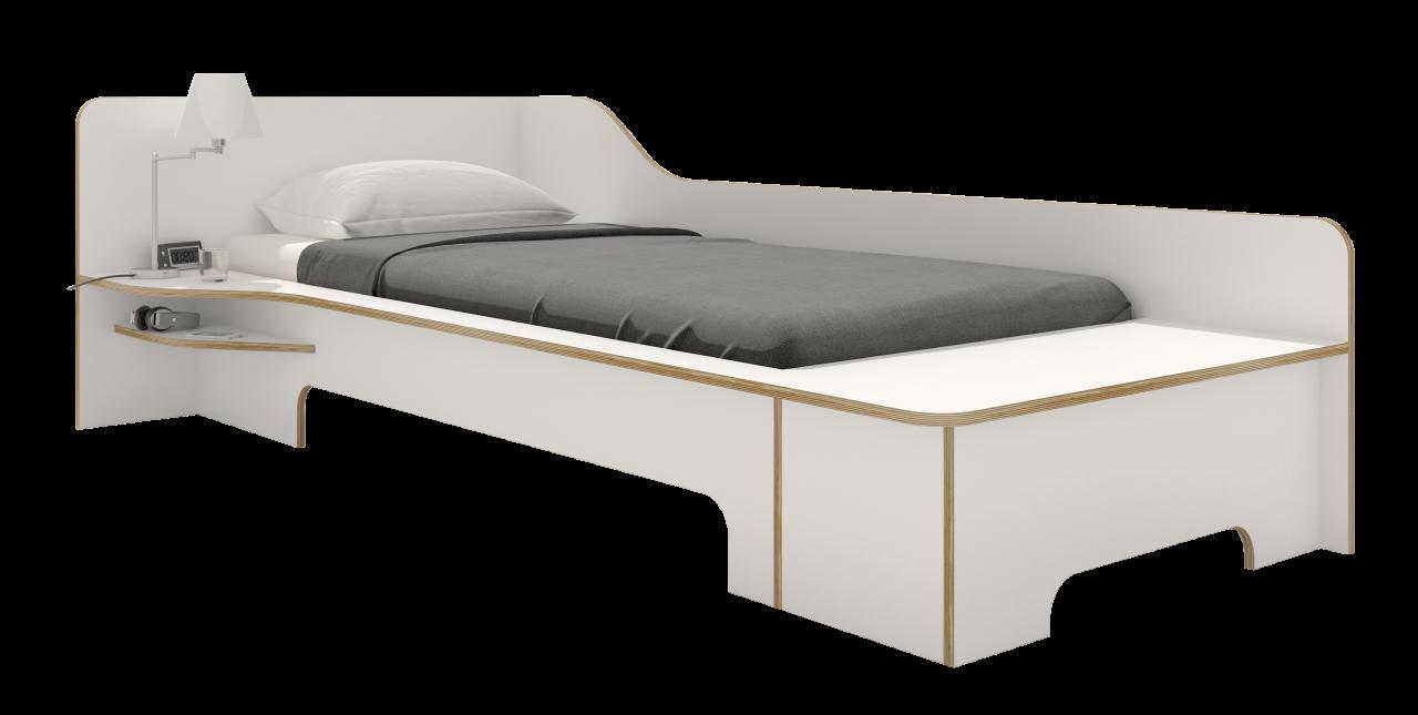 PLANE Einzelbett weiß mit Bettkasten