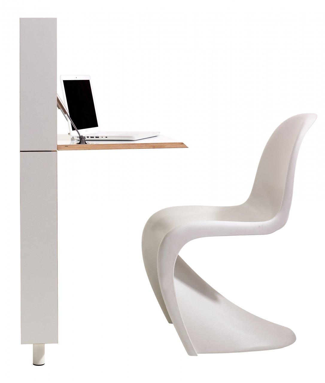 Sekretär Flatmate weiß seitlich mit Stuhl