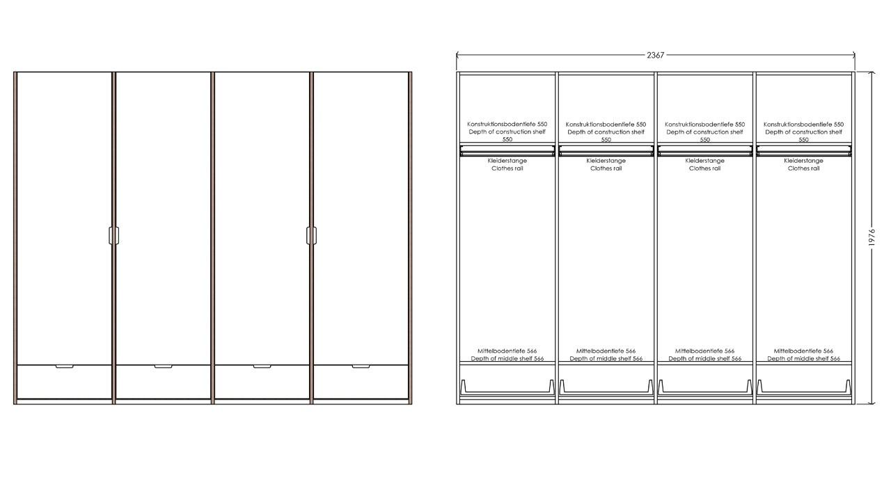 Modular Anbaubar Kleiderschrank Version 12 Ausführung 1